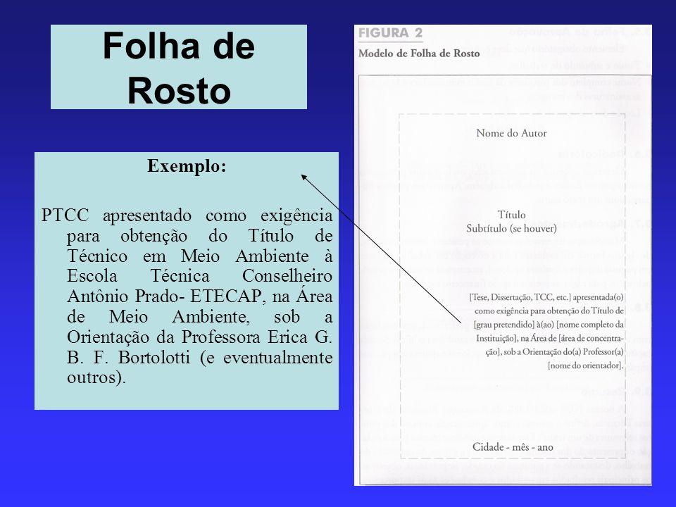 Folha de Rosto Exemplo: