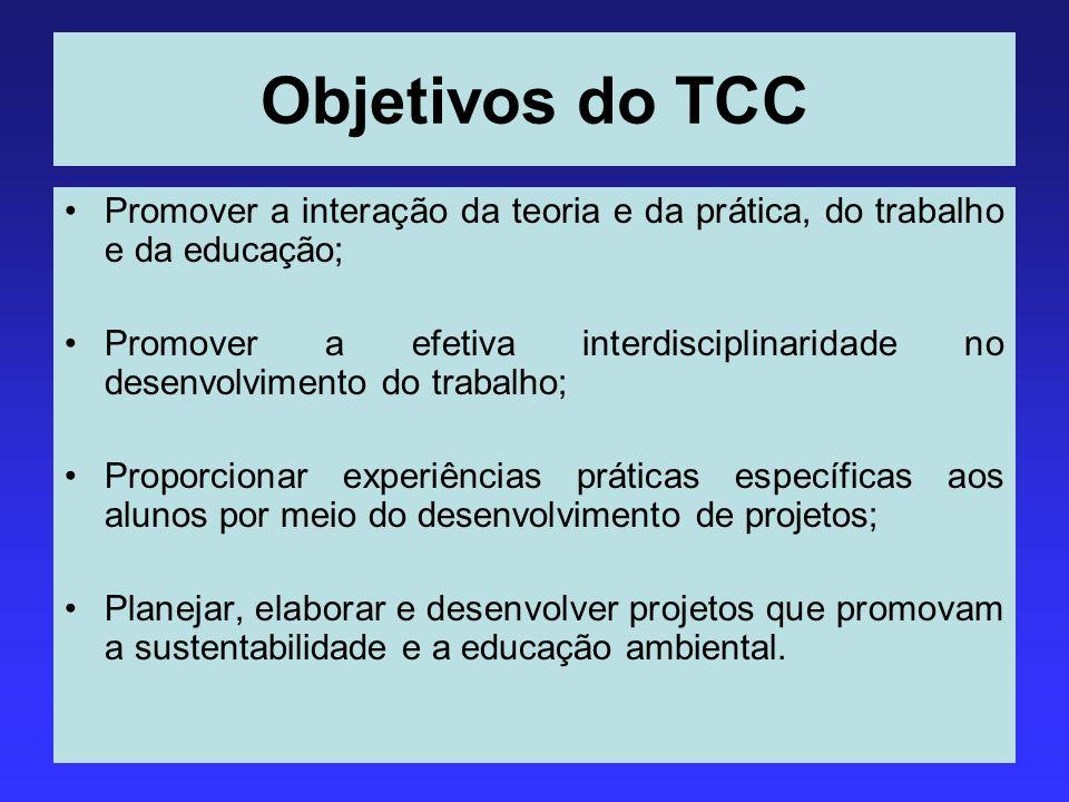 Objetivos do TCC Promover a interação da teoria e da prática, do trabalho e da educação;