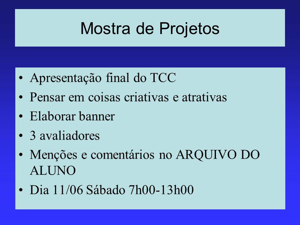 Mostra de Projetos Apresentação final do TCC