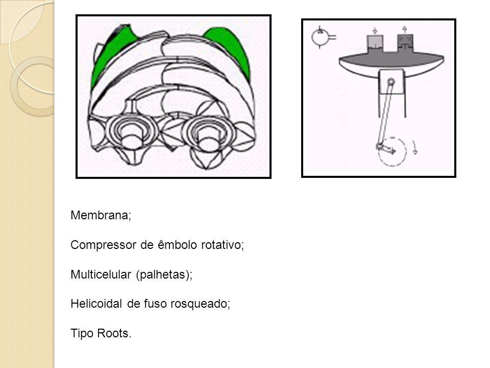 Membrana; Compressor de êmbolo rotativo; Multicelular (palhetas); Helicoidal de fuso rosqueado; Tipo Roots.