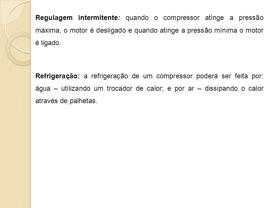 Regulagem intermitente: quando o compressor atinge a pressão máxima, o motor é desligado e quando atinge a pressão mínima o motor é ligado.