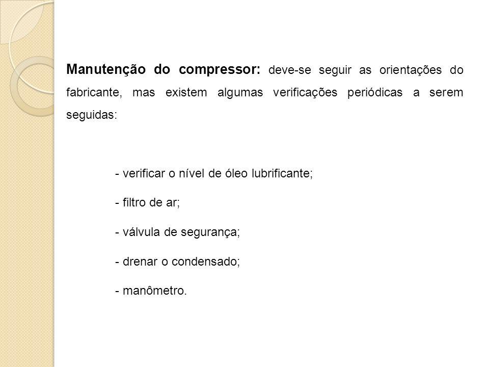 Manutenção do compressor: deve-se seguir as orientações do fabricante, mas existem algumas verificações periódicas a serem seguidas: