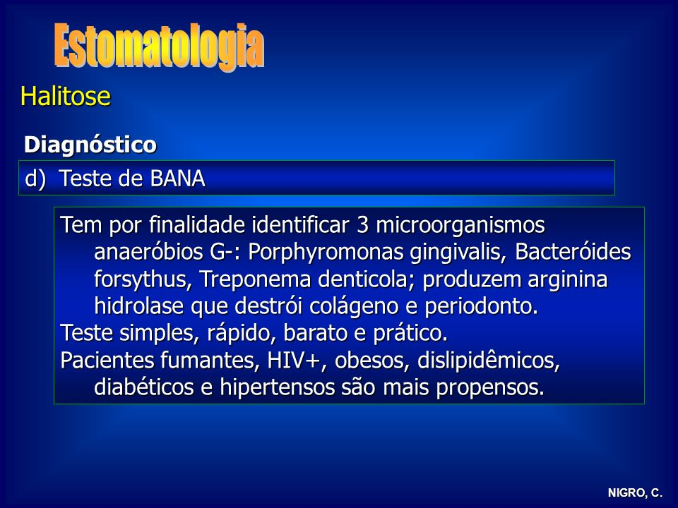 Estomatologia Halitose Diagnóstico Teste de BANA