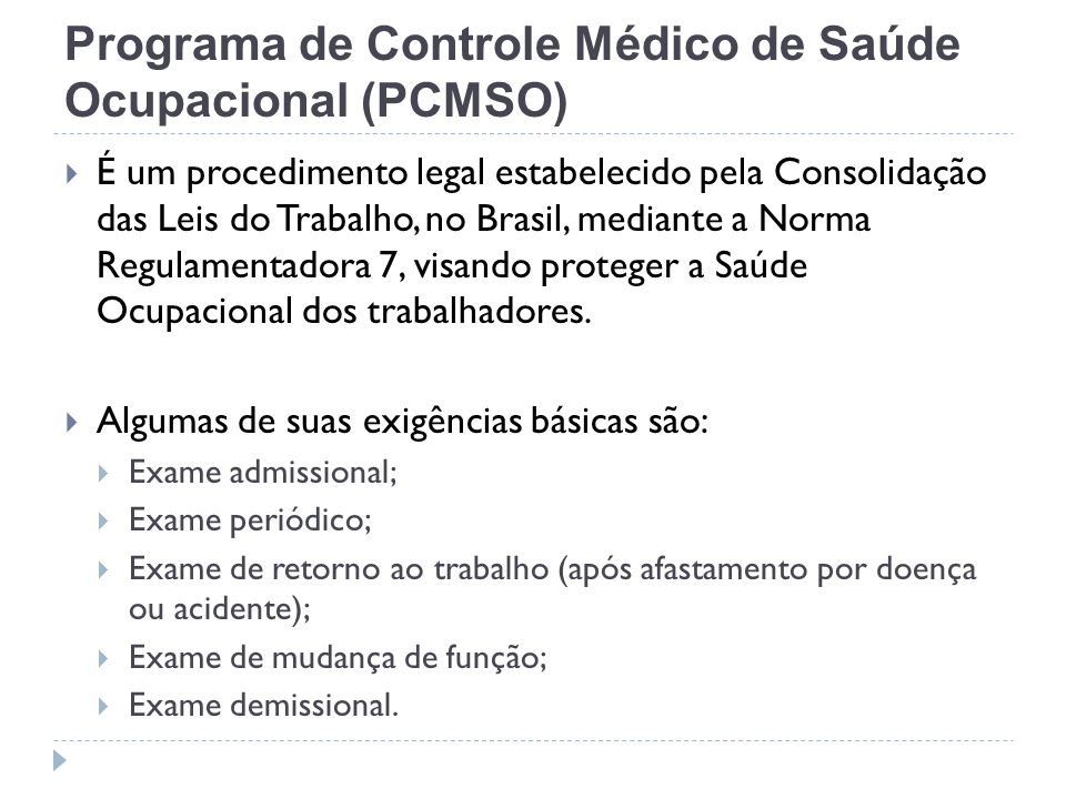 Programa de Controle Médico de Saúde Ocupacional (PCMSO)