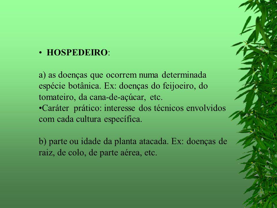 HOSPEDEIRO: a) as doenças que ocorrem numa determinada espécie botânica. Ex: doenças do feijoeiro, do tomateiro, da cana-de-açúcar, etc.