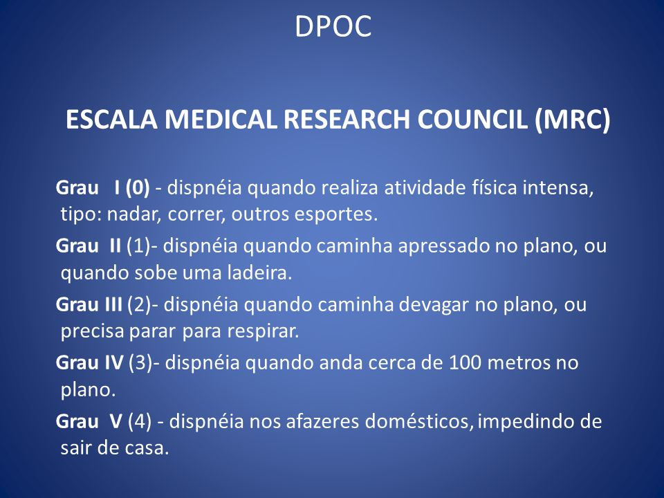 DPOC ESCALA MEDICAL RESEARCH COUNCIL (MRC)