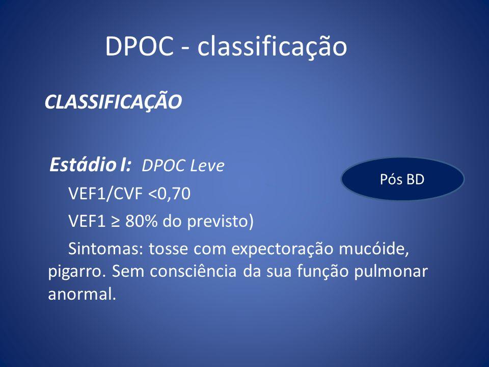DPOC - classificação CLASSIFICAÇÃO Estádio I: DPOC Leve