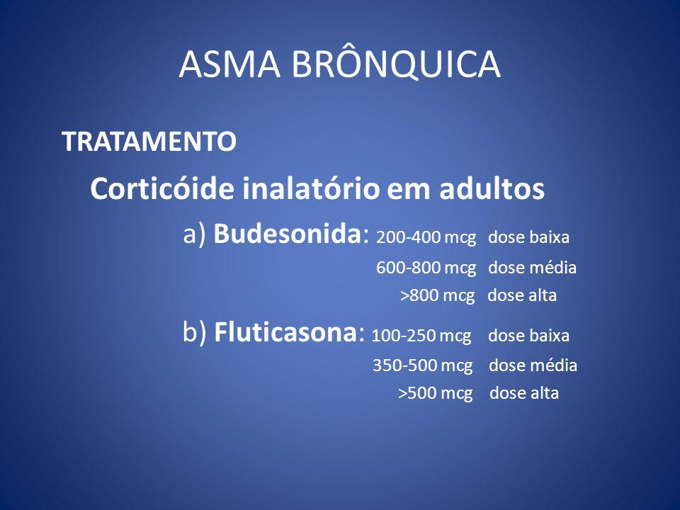 ASMA BRÔNQUICA TRATAMENTO Corticóide inalatório em adultos