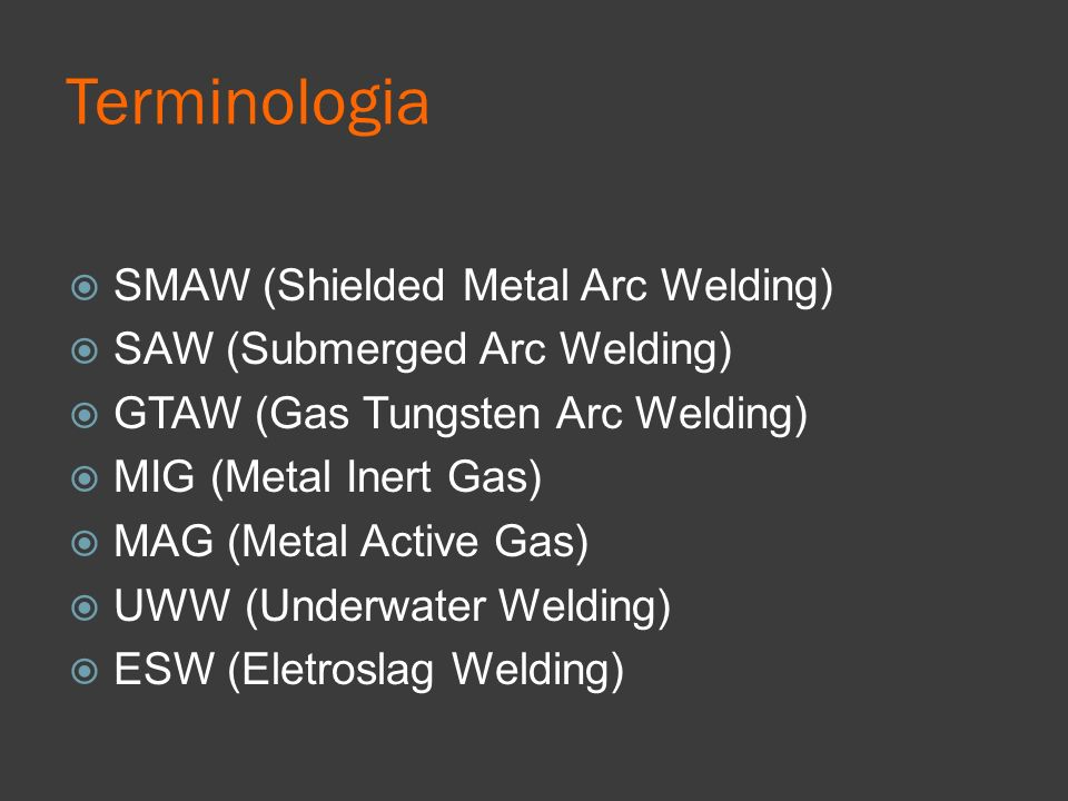 Terminologia SMAW (Shielded Metal Arc Welding)