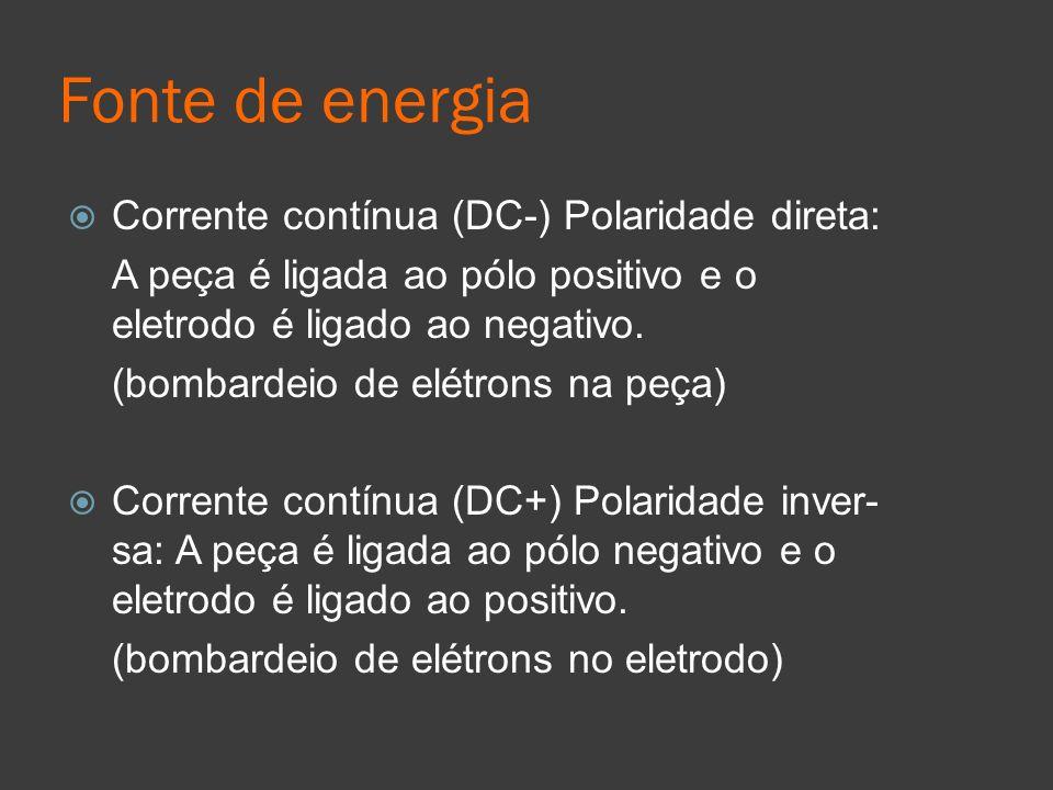 Fonte de energia Corrente contínua (DC-) Polaridade direta: