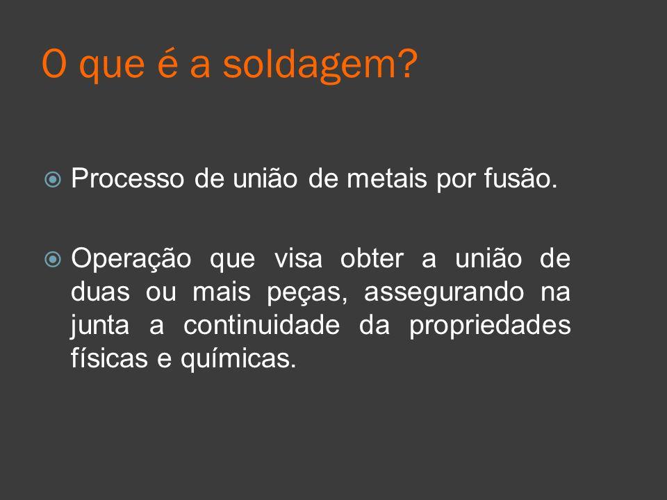 O que é a soldagem Processo de união de metais por fusão.