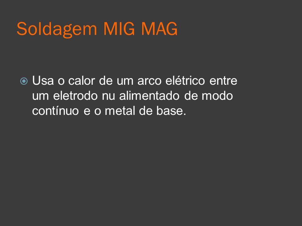 Soldagem MIG MAG Usa o calor de um arco elétrico entre um eletrodo nu alimentado de modo contínuo e o metal de base.