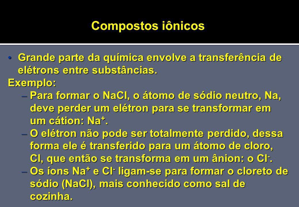 Compostos iônicos Grande parte da química envolve a transferência de elétrons entre substâncias. Exemplo: