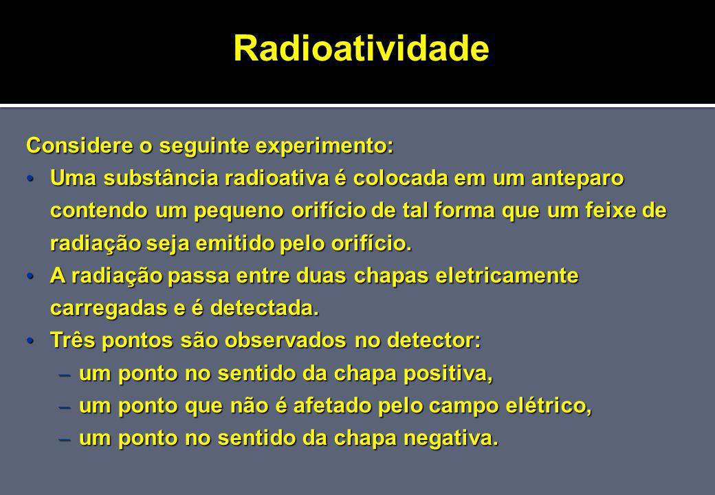Radioatividade Considere o seguinte experimento: