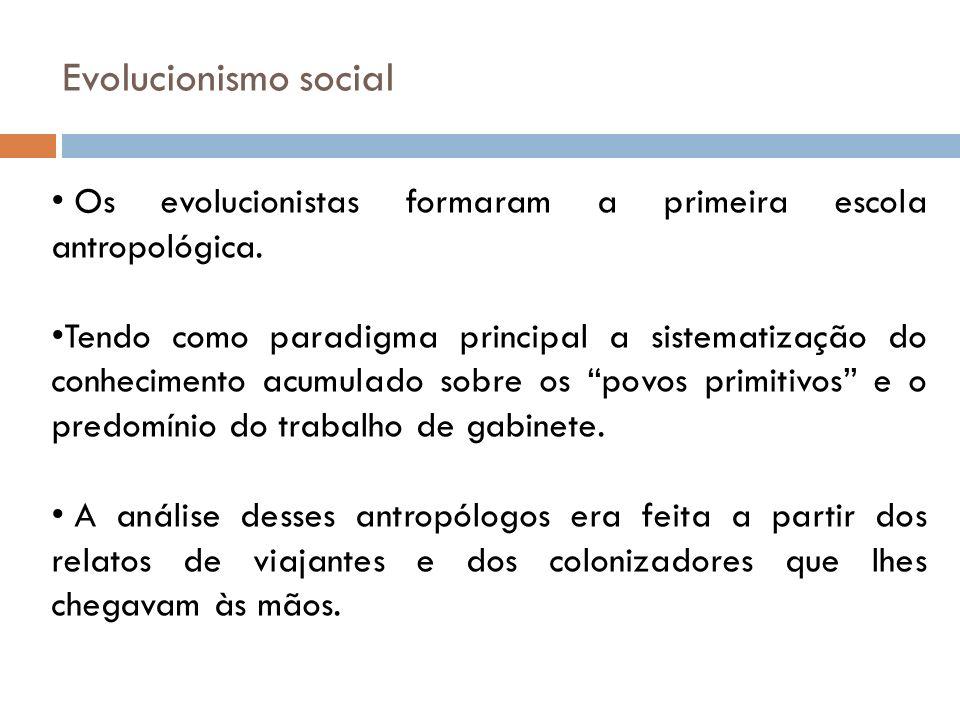 Evolucionismo social Os evolucionistas formaram a primeira escola antropológica.