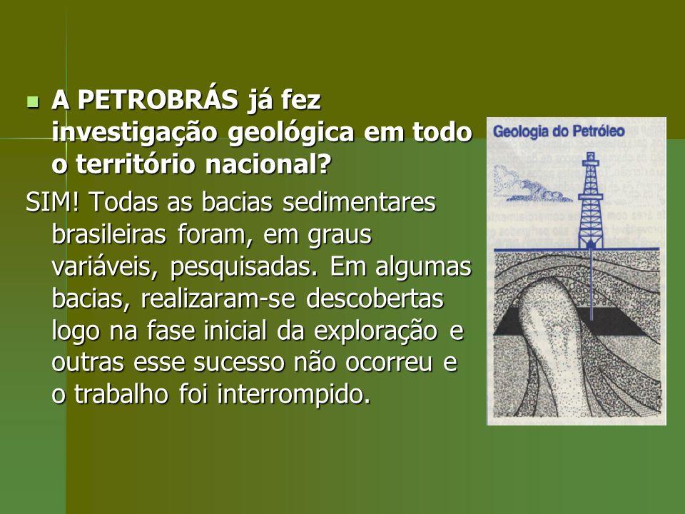 A PETROBRÁS já fez investigação geológica em todo o território nacional