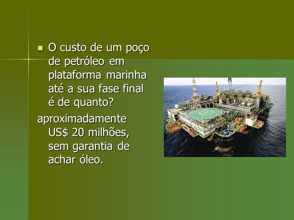 O custo de um poço de petróleo em plataforma marinha até a sua fase final é de quanto
