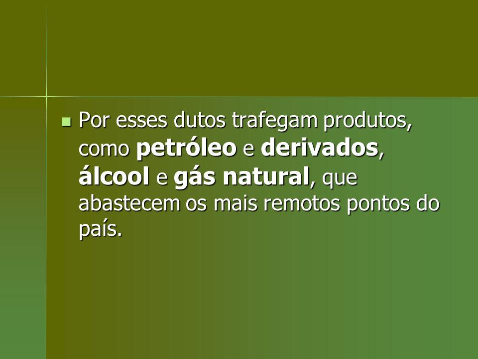 Por esses dutos trafegam produtos, como petróleo e derivados, álcool e gás natural, que abastecem os mais remotos pontos do país.
