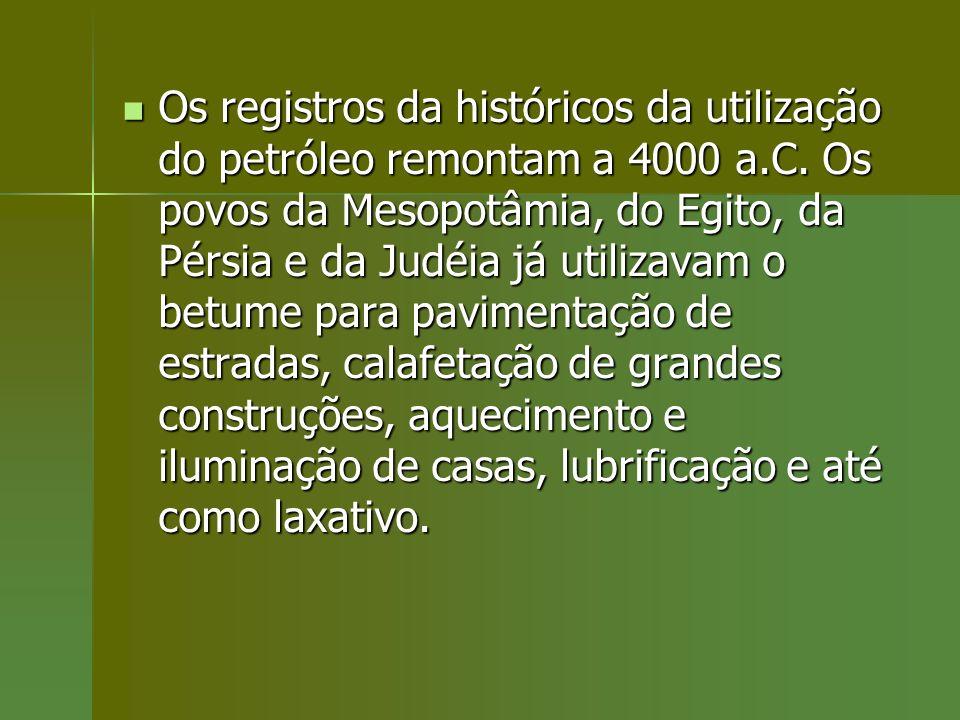Os registros da históricos da utilização do petróleo remontam a 4000 a