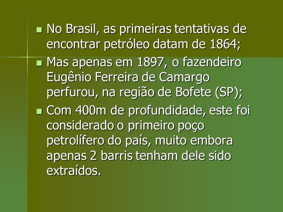 No Brasil, as primeiras tentativas de encontrar petróleo datam de 1864;
