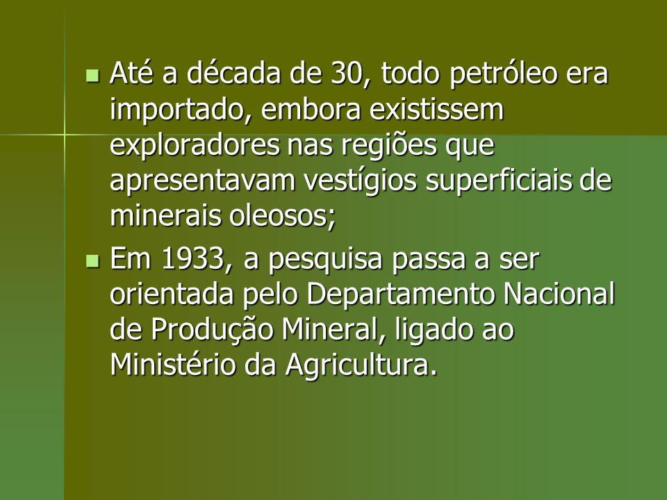 Até a década de 30, todo petróleo era importado, embora existissem exploradores nas regiões que apresentavam vestígios superficiais de minerais oleosos;