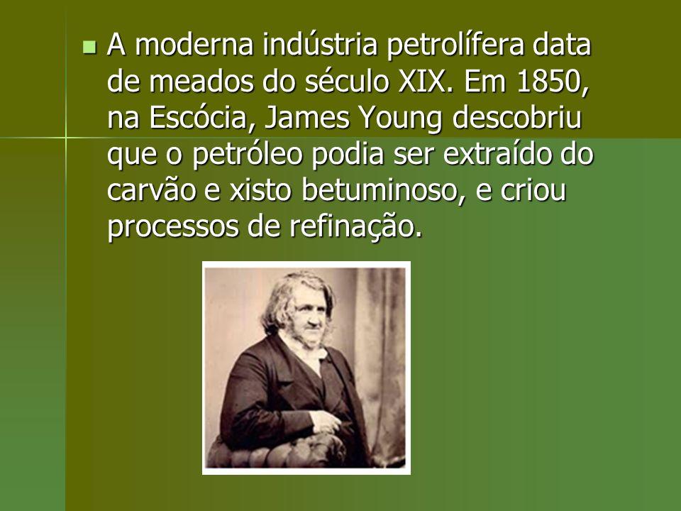 A moderna indústria petrolífera data de meados do século XIX