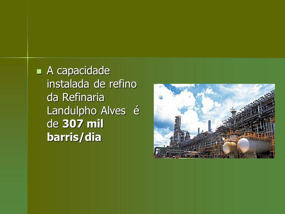 A capacidade instalada de refino da Refinaria Landulpho Alves é de 307 mil barris/dia