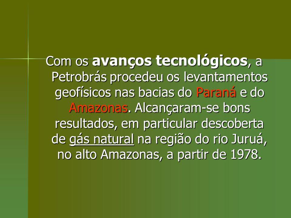 Com os avanços tecnológicos, a Petrobrás procedeu os levantamentos geofísicos nas bacias do Paraná e do Amazonas.