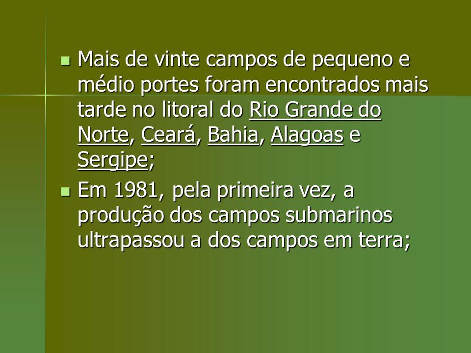Mais de vinte campos de pequeno e médio portes foram encontrados mais tarde no litoral do Rio Grande do Norte, Ceará, Bahia, Alagoas e Sergipe;