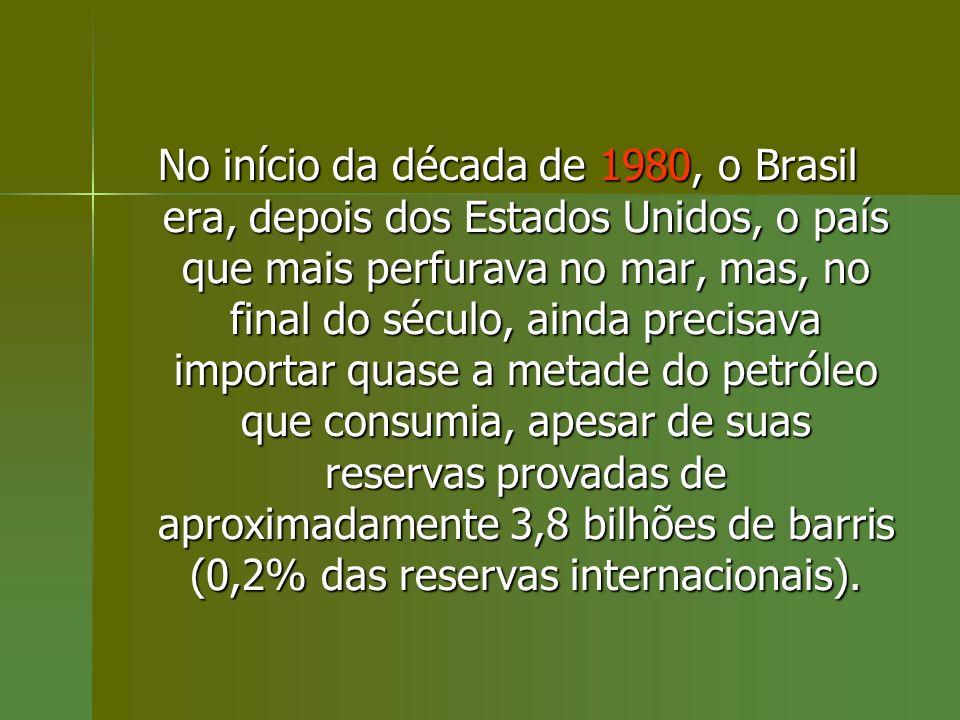 No início da década de 1980, o Brasil era, depois dos Estados Unidos, o país que mais perfurava no mar, mas, no final do século, ainda precisava importar quase a metade do petróleo que consumia, apesar de suas reservas provadas de aproximadamente 3,8 bilhões de barris (0,2% das reservas internacionais).