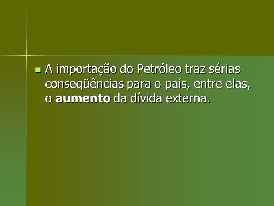A importação do Petróleo traz sérias conseqüências para o país, entre elas, o aumento da dívida externa.