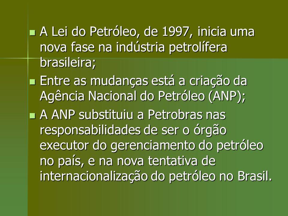 A Lei do Petróleo, de 1997, inicia uma nova fase na indústria petrolífera brasileira;
