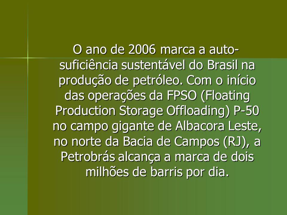 O ano de 2006 marca a auto-suficiência sustentável do Brasil na produção de petróleo.
