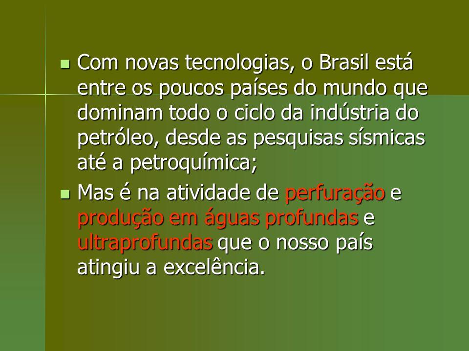 Com novas tecnologias, o Brasil está entre os poucos países do mundo que dominam todo o ciclo da indústria do petróleo, desde as pesquisas sísmicas até a petroquímica;