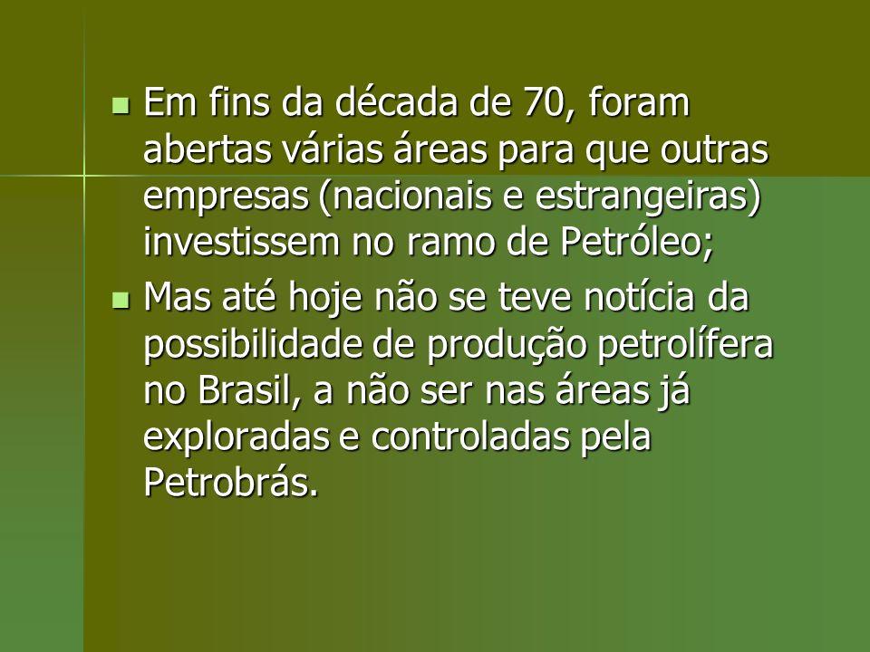 Em fins da década de 70, foram abertas várias áreas para que outras empresas (nacionais e estrangeiras) investissem no ramo de Petróleo;