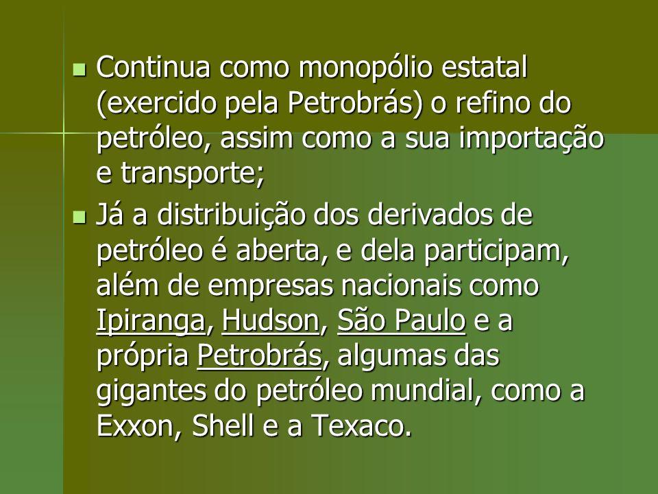 Continua como monopólio estatal (exercido pela Petrobrás) o refino do petróleo, assim como a sua importação e transporte;
