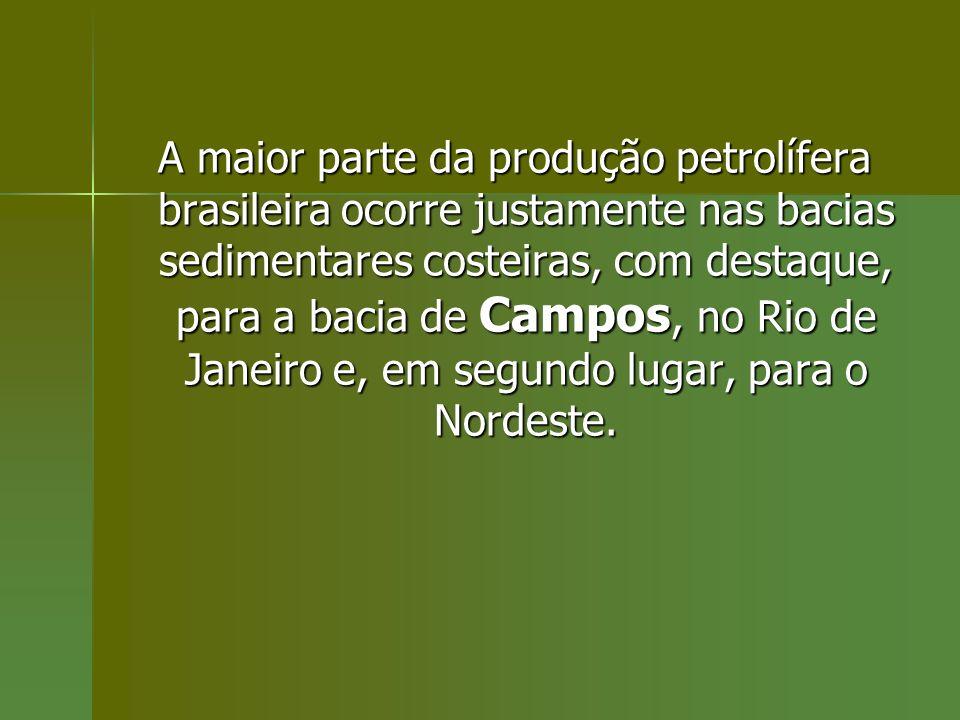 A maior parte da produção petrolífera brasileira ocorre justamente nas bacias sedimentares costeiras, com destaque, para a bacia de Campos, no Rio de Janeiro e, em segundo lugar, para o Nordeste.