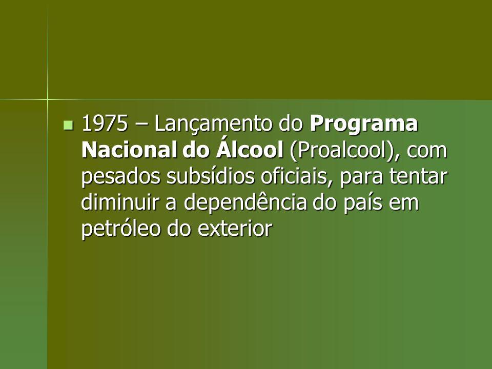 1975 – Lançamento do Programa Nacional do Álcool (Proalcool), com pesados subsídios oficiais, para tentar diminuir a dependência do país em petróleo do exterior