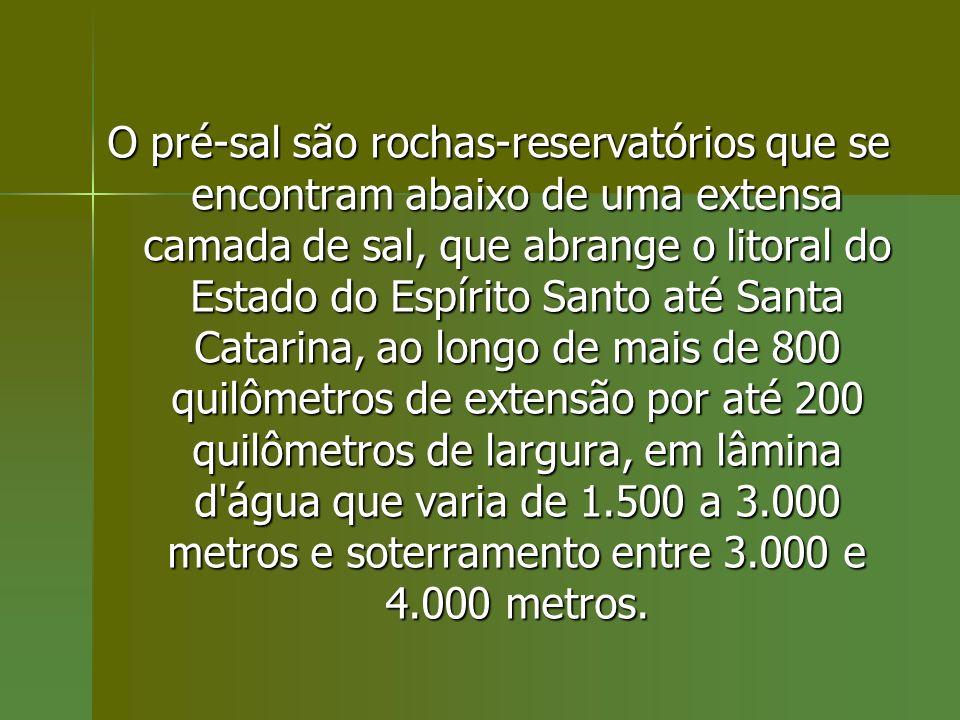 O pré-sal são rochas-reservatórios que se encontram abaixo de uma extensa camada de sal, que abrange o litoral do Estado do Espírito Santo até Santa Catarina, ao longo de mais de 800 quilômetros de extensão por até 200 quilômetros de largura, em lâmina d água que varia de 1.500 a 3.000 metros e soterramento entre 3.000 e 4.000 metros.
