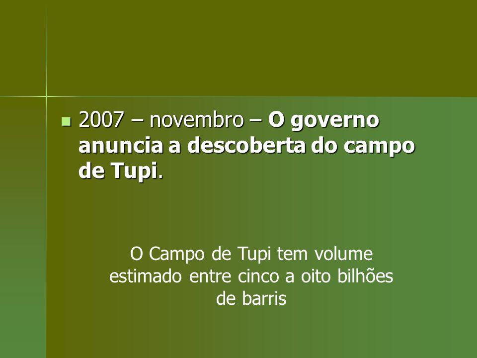 2007 – novembro – O governo anuncia a descoberta do campo de Tupi.