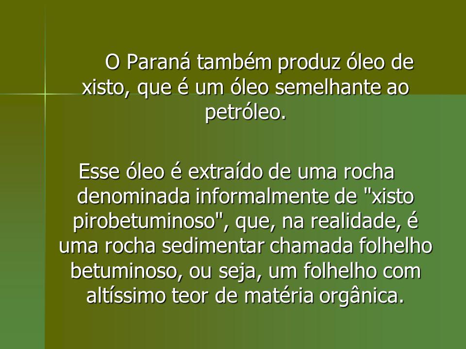 O Paraná também produz óleo de xisto, que é um óleo semelhante ao petróleo.