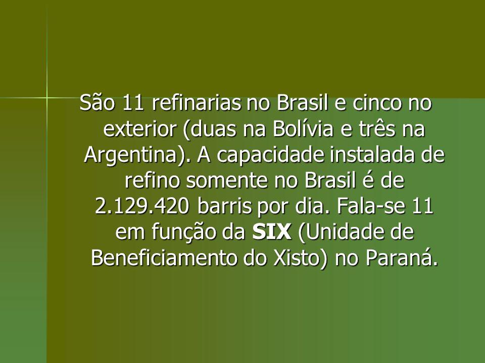 São 11 refinarias no Brasil e cinco no exterior (duas na Bolívia e três na Argentina).