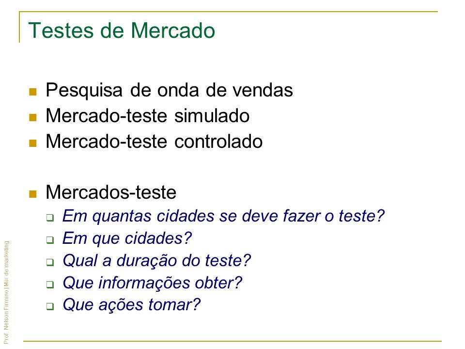 Testes de Mercado Pesquisa de onda de vendas Mercado-teste simulado