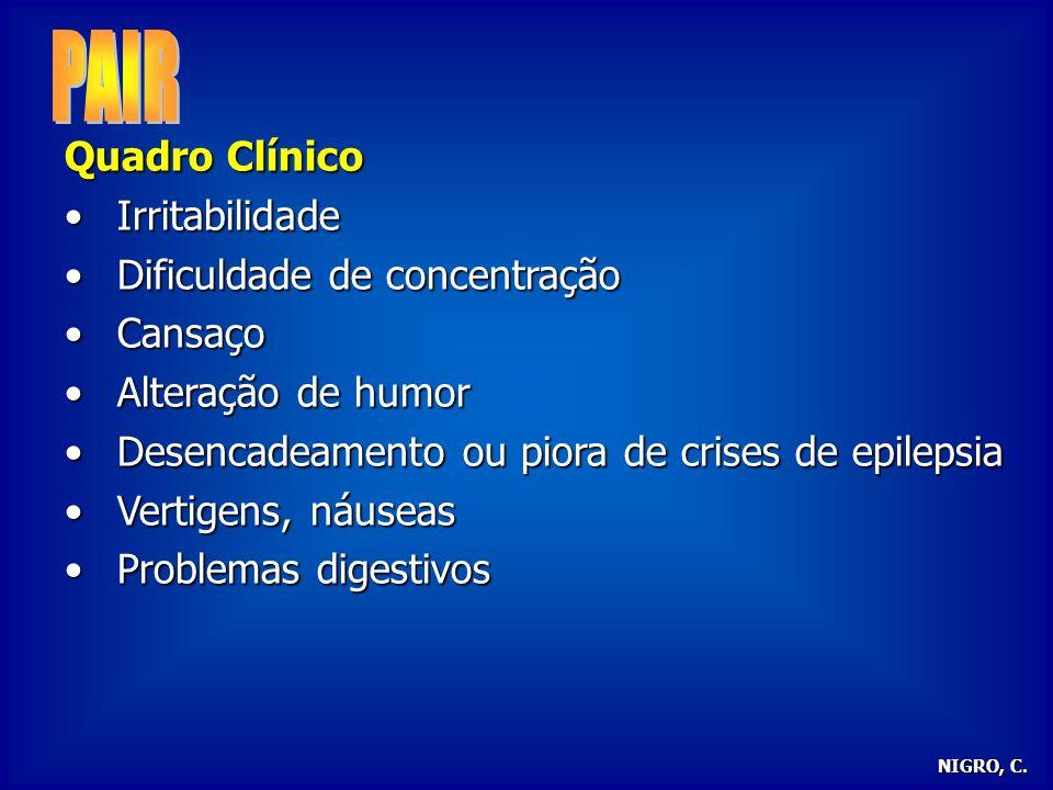 PAIR Quadro Clínico Irritabilidade Dificuldade de concentração Cansaço
