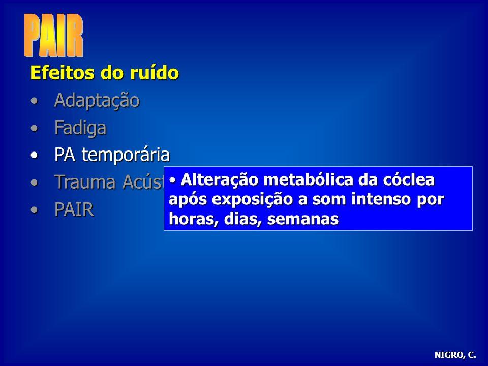 PAIR Efeitos do ruído Adaptação Fadiga PA temporária Trauma Acústico