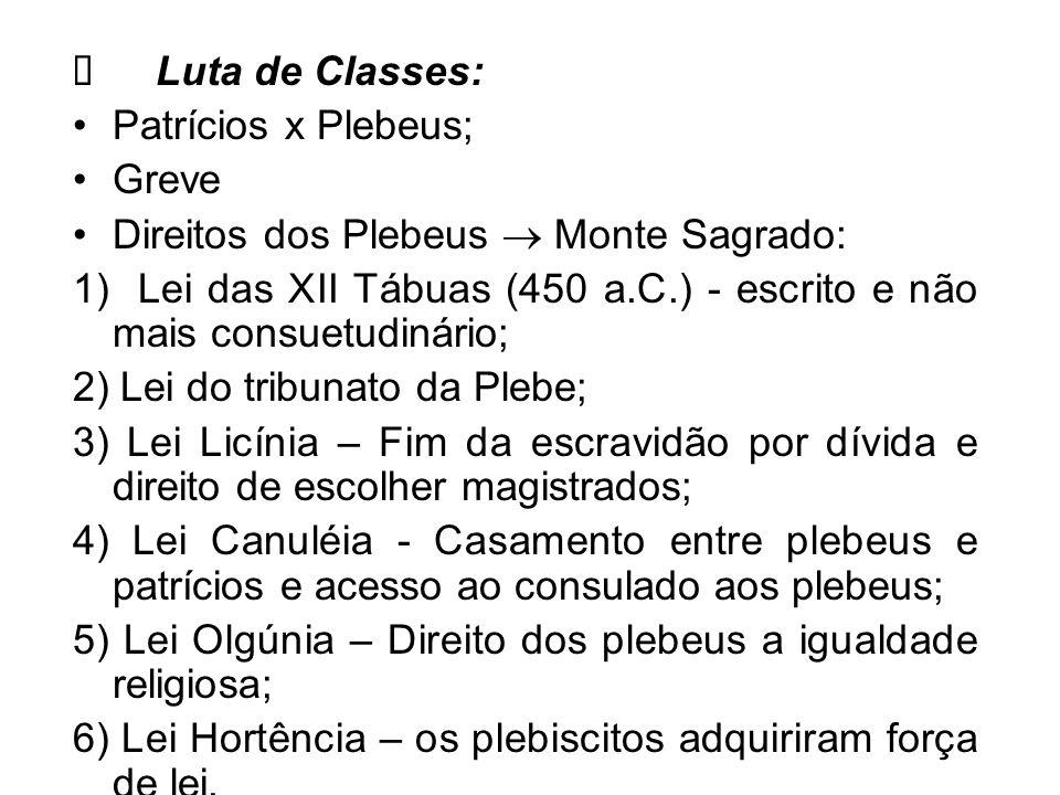 Ø Luta de Classes: Patrícios x Plebeus; Greve. Direitos dos Plebeus  Monte Sagrado: