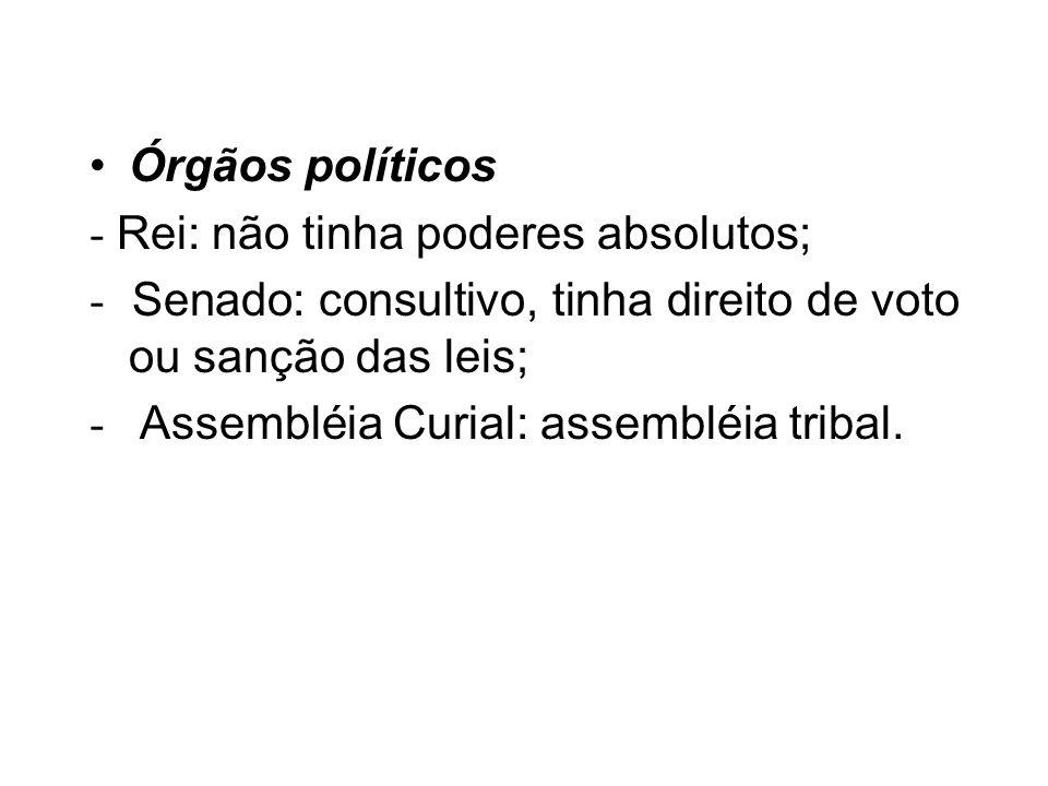 Órgãos políticos - Rei: não tinha poderes absolutos; - Senado: consultivo, tinha direito de voto ou sanção das leis;