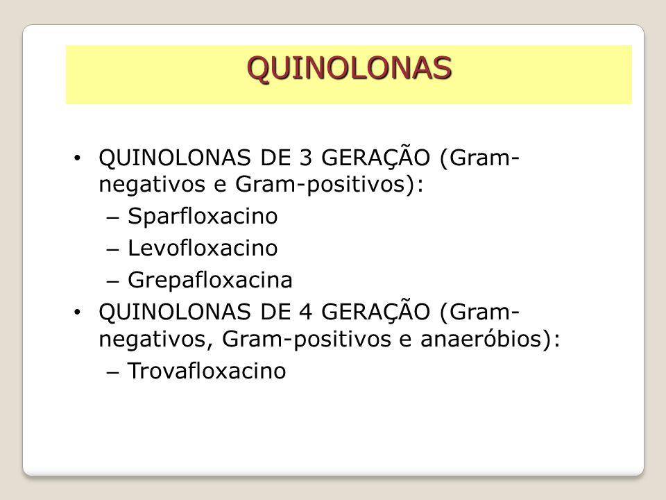 QUINOLONAS QUINOLONAS DE 3 GERAÇÃO (Gram-negativos e Gram-positivos):