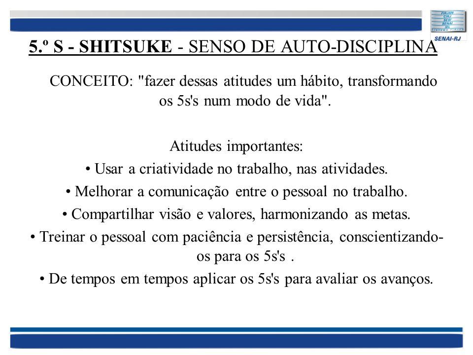 5.º S - SHITSUKE - SENSO DE AUTO-DISCIPLINA