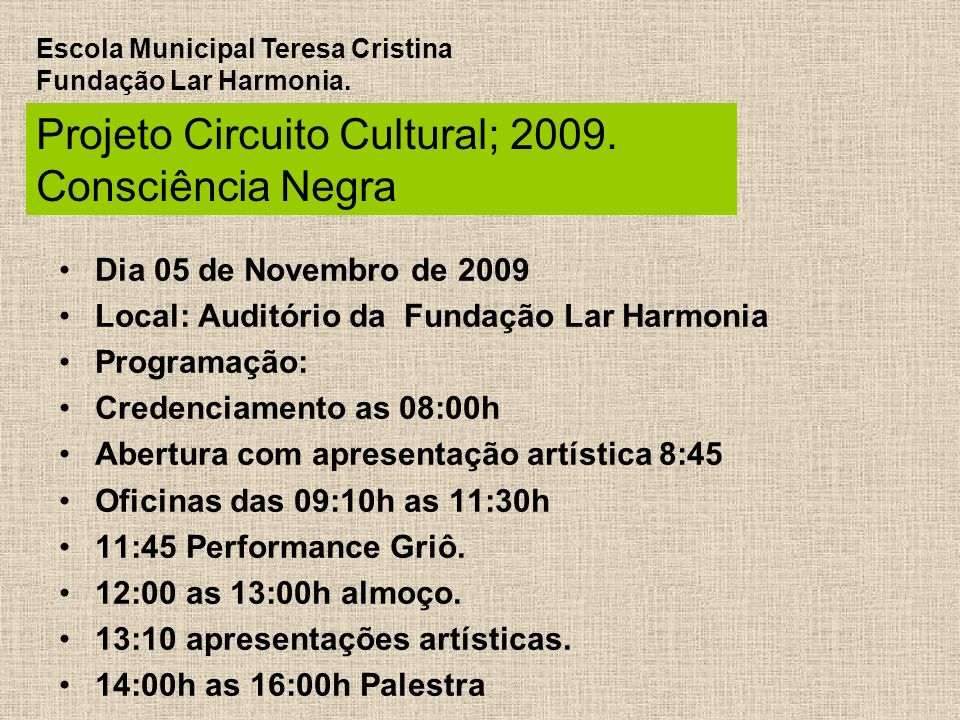 Well-known Projeto Circuito Cultural Consciência Negra - ppt carregar JB39